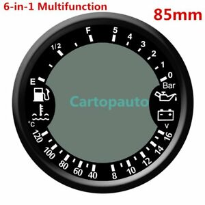 85mm 6 in 1multifunction Gps Speedometer Oil Pressure Fuel Tachometer Gauge 5bar