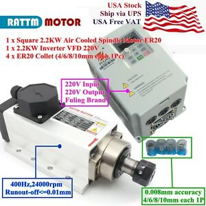 usa 2 2kw 220v Air Cooled Spindle Motor Er20 For Cnc Router 2 2kw Vfd 4p Collet