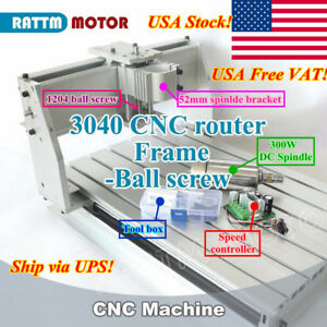 3040 Cnc Router Machine Frame Mechanical Ballscrew Kit 300w Dc Spindle Motor us