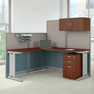 Bush Business Furniture Office In An Hour L Shaped Cubicle Workstation
