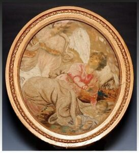 Antique Georgian Era French Silk Work Embroidery Tapestry Frame Angel