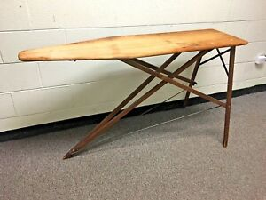 Antique Vintage Primitive Wooden Ironing Board Rustic Clothing Folding Wood