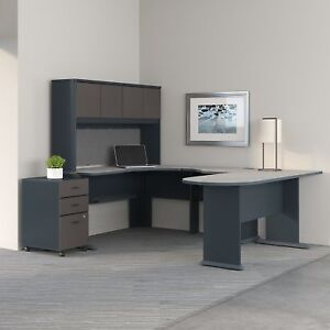 Series A U Shaped Corner Desk With Hutch And File Cabinet In Slate