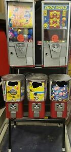 Used Gumball Candy Toy Capsule Vending Dispensing Machine 5 Head Combo With Rack