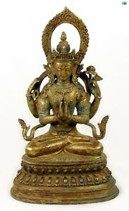Rare 19th Cent Antique Large Asian Chinese Gilded Bronze Namaste Buddha Statue