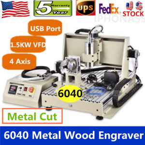 4 Axis Usb 1500w Vfd Cnc 6040 Router Engraver Wood Metal Alu Engraving Machine