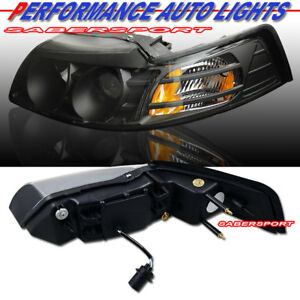 Set Of Pair Black Housing Projector Headlights For 1999 2004 Ford Mustang