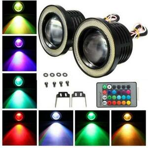 Multi Color Rgb 3 Projector Led Fog Light Lamp Drl W Cob Halo Angel Eyes Rings