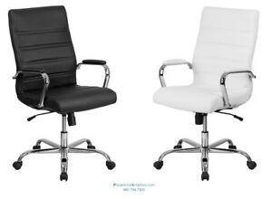 10 High Back Conference Desk Office Chairs Black Or White Leather Padded Arms