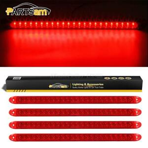 4xred 17 Rv Truck Trailer Stop Tail Turn And 3rd Brake Light 23led Flange Mount