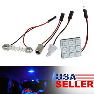 4x Universal Car Rv Interior Dome Map Lights Bulbs Replace 9 5050 Smd Blue