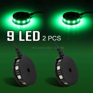2 Green Led Motorcycle Wheel Pod Rim Accent Lighting Custom Neon Glow Disk Rotor