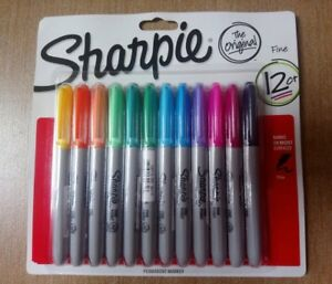 Sharpie Permanent Markers Fine Point 12 Assorted Colors Non Toxic Ink