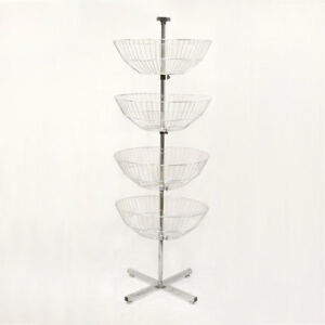 Chrome Spinning Rack 63 Display Bin Wire Basket Retail Fixture