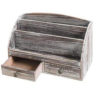 3 compartment Drawer Organizers Torched Wood Desktop Document Supply With 2