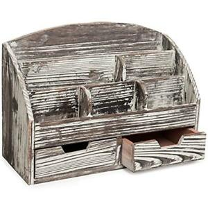 Rustic Drawer Organizers Style Wood Desktop Office Supplies Rack With 6