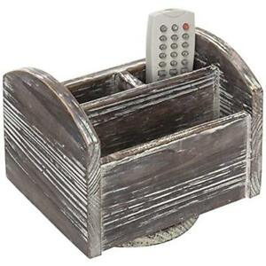 Rustic Supply Organizers Torched Wood Rotating Desktop Office Supplies Caddy