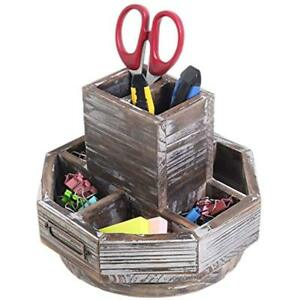 Torched Supply Organizers Wood Rotating Desktop Office Supplies