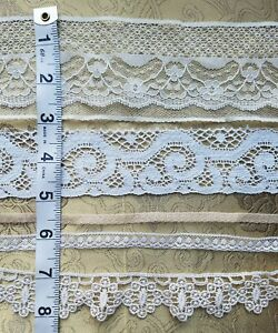 Antique Vtg Lace Trim Edging Insert Dainty Sewing Art Doll Clothes Lot 5 A36