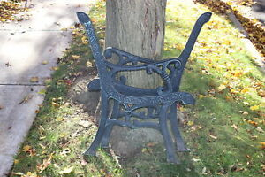 Vintage Garden Park Bench Architectural Support Arms Pair Cast Metal Hearts