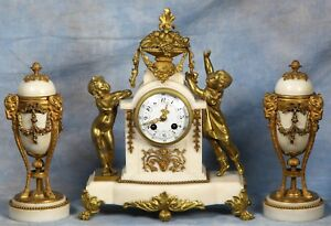 French White Carrara Marble Bronze Clock Garniture 19th Century Mougin Movement
