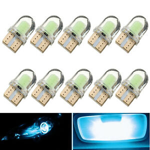 10x T10 194 168 W5w Cob 4 Smd Led Canbus Silica Ice Blue License Light Bulb Blue