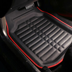 Floor Mats For Auto Car Suv Van Tray Design Water Dust Proof Black Red Trim