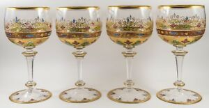 Moser Antique Set Of 4 Gilt Enamel Crystal Wine Goblets Glasses