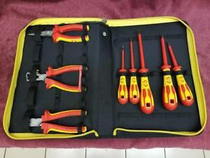 New C k 9 Piece Tool Kit Electrical Shock Proof Screwdrivers Pliers Cutters Case