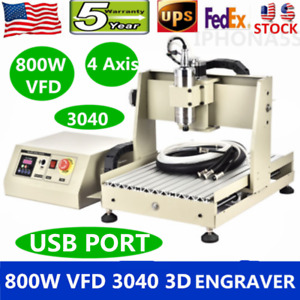 4 Axis Usb Cnc 3040 Router Engraver 3d Engraving Drill Milling Machine 800w Vfd