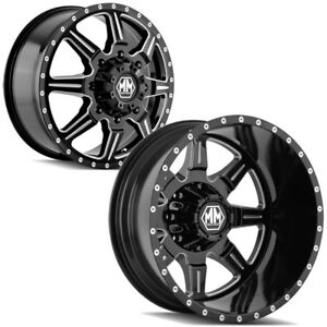Set Of 6 Mayhem 8101 Monstir Dually 20 Inch 8x6 5 Black Wheels Rims Lugs Incl