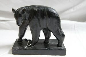 Antique Hand Carved Black Bear Statue On Base Good Condition