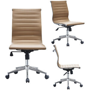 Modern Low Back Executive Office Chair Mid Back Pu Leather Armless Desk Chair