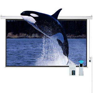 Cloud Mountain Inc 16 9 Hd Tv Motorized White 100 Electric Projector Screen