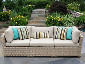 Tk Classics Monterey Patio Sofa With Cushions Beige