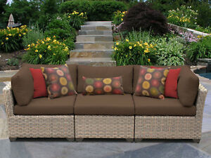 Tk Classics Monterey Patio Sofa With Cushions Cocoa