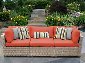 Tk Classics Monterey Patio Sofa With Cushions Tangerine