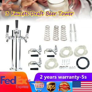 Triple Tap 3 Faucets Draft Beer Tower Homebrew Stainless Steel For Kegerator Us