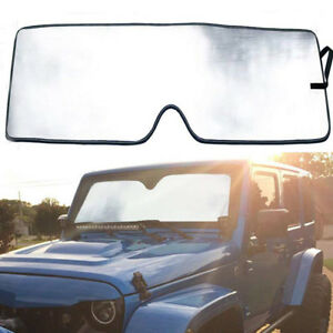 Uv Reflective Windshield Sun Visor Retractable Window Shade For Jeep Wrangler Jk