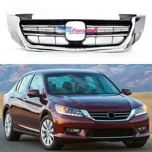 For Honda Accord 2013 2015 Front Upper Grill Bumper Hood Black Chrome Grille