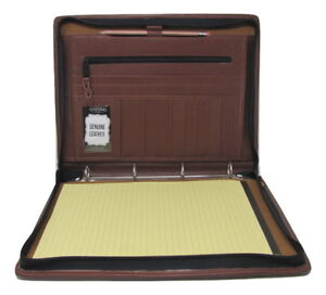 Brown Real Leather A4 Folder Portfolio Option To Personalise Pa104 4 Ring Binder