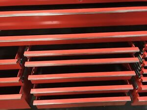 Red Snap on Locking Tool Box Triple Bank 84 Epiq Snap On Extra Wide Drawers