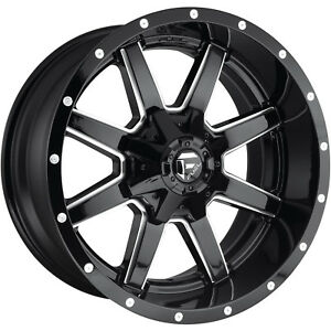 20x12 Black Milled Fuel Maverick 5x5 5 5x150 44 Rims Open Country Mt 35 Tires