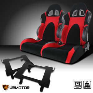 Fit 1999 2004 Mustang Black Red Faux Suede Racing Seats Laser Welded Brackets