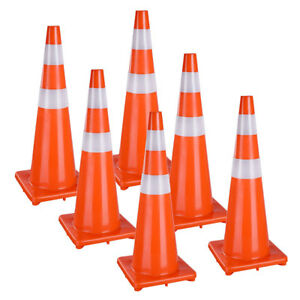 36 Traffic Safety Cones Reflective Collars Overlap Parking Construction 6 Pcs