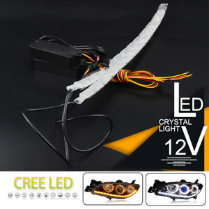 2x 12led Switchback Car Flexible Led Strip Light Drl Sequential Flow Turn Signal