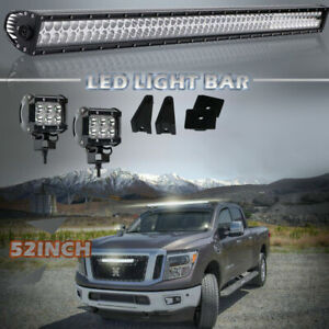 Curved 52inch 738w Led Work Light Bar Tri Row Off Road Spot Flood Combo White 54