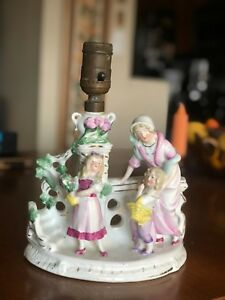 Beautiful Antique Porcelain Table Lamp 5778 Boy Girl And Mother Made In Germany