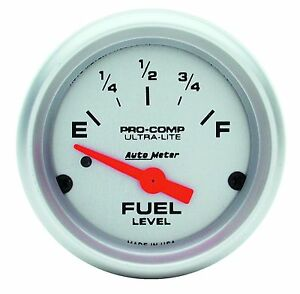 Autometer Ultra Lite Electric Universal Gm Chevy Fuel Level Gauge 2 1 16 52mm