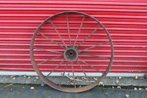 Large Antique Wagon Tractor Wheel Metal 14 Spoke 40 Tall Country Decor 2